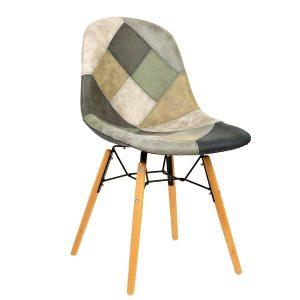 כסא עץ מרופד בדמוי עור דגם בייסיק