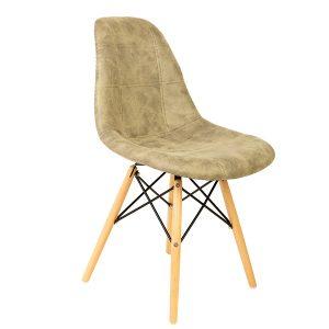 כיסא עץ מרופד דמוי עור דגם בייסיק