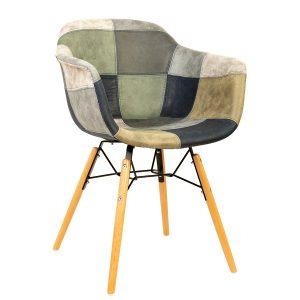 כסא עץ מרופד עם ידיות דגם בייסיק