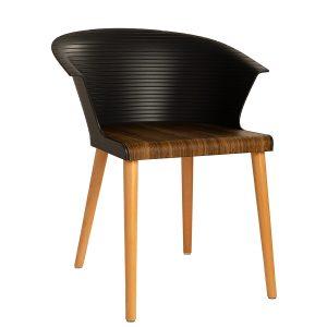כסא מעץ בשילוב פלסטיק דגם פיקאסו