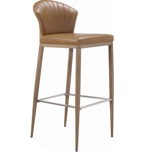 כסא בר מעוצב מרופד דמוי עור דגם מנור בר