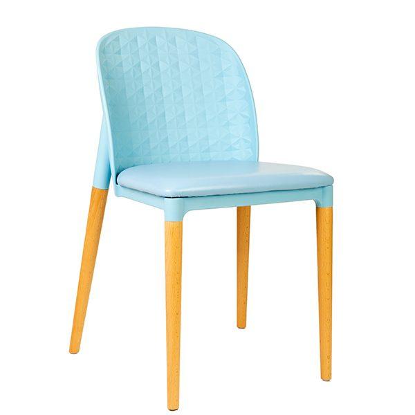 כסא מעוצב מעץ בשילוב בד דגם שיקי