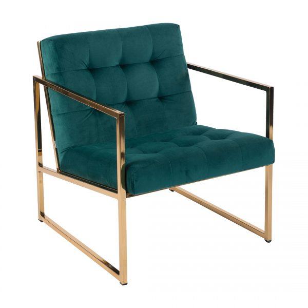 כורסא מעוצבת וויין ירוק קטיפה רגלי זהב